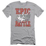 Family Guy Epic Battle Adult 30/1 T-Shirt Silver