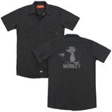 Family Guy Evil Monkey (Back Print) Adult Work Shirt Black