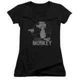 Family Guy Evil Monkey Junior Women's V-Neck T-Shirt Black