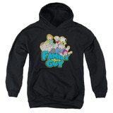 Family Guy Family Fight Youth Pullover Hoodie Sweatshirt Black