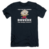 Family Guy Douche The Night Away Adult 30/1 T-Shirt Navy
