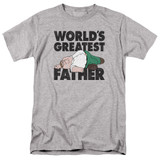 Family Guy The Greatest Father Adult 18/1 T-Shirt Athletic Heather