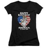 Family Guy American Love Junior Women's V-Neck T-Shirt Black