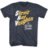 Stevie Ray Vaughan Notes Navy Heather Adult T-Shirt
