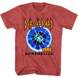 Def Leppard Adrenalize 1992 Red Heather Adult T-Shirt