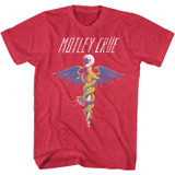 Motley Crue Bad Print Cherry Heather Adult T-Shirt