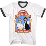 Bill And Ted Excellent Storybook White/Black Ringer T-Shirt