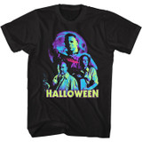 Halloween Neon Moon Black Adult T-Shirt
