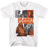 Planet Of The Apes Collage White Adult T-Shirt