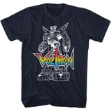 Voltron Voltron With Logo Navy Adult T-Shirt