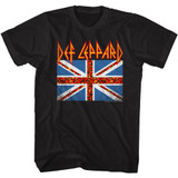 Def Leppard Leopard Flag Black Adult T-Shirt