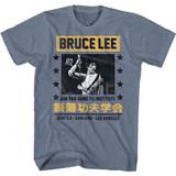 Bruce Lee Jun Fan Jeet Kune Do Indigo Heather Adult T-Shirt