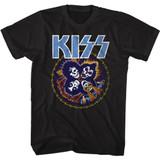 Kiss Skull Circle Black Adult T-Shirt