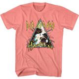 Def Leppard Hysteria Triangle Coral Silk Heather Adult T-Shirt