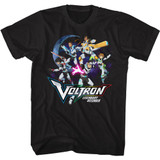 Voltron Defender Group In Space Black Adult T-Shirt