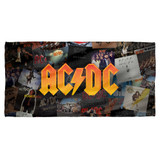 AC/DC Albums Cotton Front Poly Back Beach Towel White 30x60