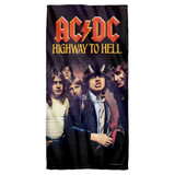 AC/DC Highway Cotton Front Poly Back Beach Towel White 30x60