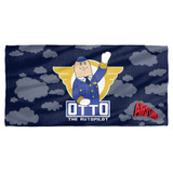 Airplane Otto Cotton Front Poly Back Beach Towel White 30x60
