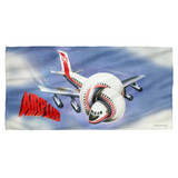 Airplane Postet Cotton Front Poly Back Beach Towel White 30x60