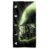 Alien Head Cotton Front Poly Back Beach Towel White 30x60