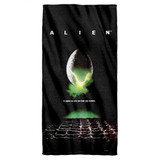 Alien Poster Cotton Front Poly Back Beach Towel White 30x60