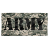 Army Camo Cotton Front Poly Back Beach Towel White 30x60
