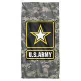 Army Patch Cotton Front Poly Back Beach Towel White 30x60