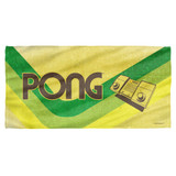 Atari Pong Lines Cotton Front Poly Back Beach Towel White 30x60