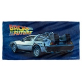 Back To The Future Delorean Cotton Front Poly Back Beach Towel White 30x60