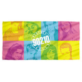 Beverly Hills 90210 Color Blocks Cotton Front Poly Back Beach Towel White 30x60