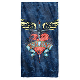 Bon Jovi Weathered Denim Cotton Front Poly Back Beach Towel White 30x60