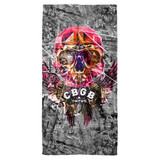 CBGB Flying Skull Cotton Front Poly Back Beach Towel White 30x60