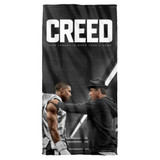 Creed Rocky Poster Cotton Front Poly Back Beach Towel White 30x60