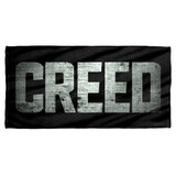 Creed Rocky Taped Logo Cotton Front Poly Back Beach Towel White 30x60