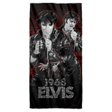 Elvis Presely Comback Performance Cotton Front Poly Back Beach Towel White 30x60