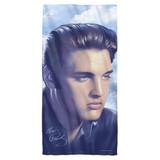 Elvis Presley Big Portrait Cotton Front Poly Back Beach Towel White 30x60