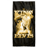 Elvis Presley The King Cotton Front Poly Back Beach Towel White 30x60