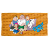 Family Guy Family Portrait Cotton Front Poly Back Beach Towel White 30x60
