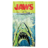 Jaws Attack Cotton Front Poly Back Beach Towel White 30x60