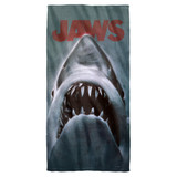 Jaws Shark Cotton Front Poly Back Beach Towel White 30x60