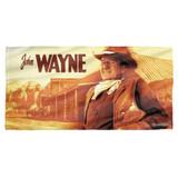 John Wayne Old West Cotton Front Poly Back Beach Towel White 30x60