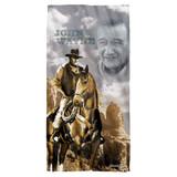 John Wayne Ride Em Cowboy Cotton Front Poly Back Beach Towel White 30x60