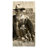 John Wayne Stoic Cowboy Cotton Front Poly Back Beach Towel White 30x60