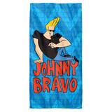 Johnny Bravo Logo Repeat Cotton Front Poly Back Beach Towel White 30x60
