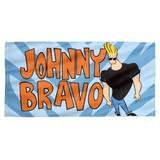 Johnny Bravo Logo Cotton Front Poly Back Beach Towel White 30x60