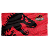 Jurassic Park 25Th Anniversary Cotton Front Poly Back Beach Towel White 30x60
