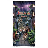 Jurassic Park Welcome To The Park Cotton Front Poly Back Beach Towel White 30x60