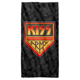 Kiss Army Cotton Front Poly Back Beach Towel White 30x60