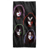 Kiss Solo Heads Cotton Front Poly Back Beach Towel White 30x60