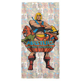 Masters Of The Universe Heroes Cotton Front Poly Back Beach Towel White 30x60
